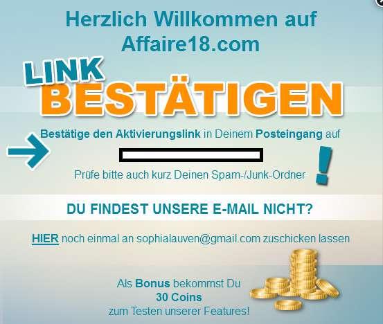 03 Affaire18_com Coins Willkommensbestätigung