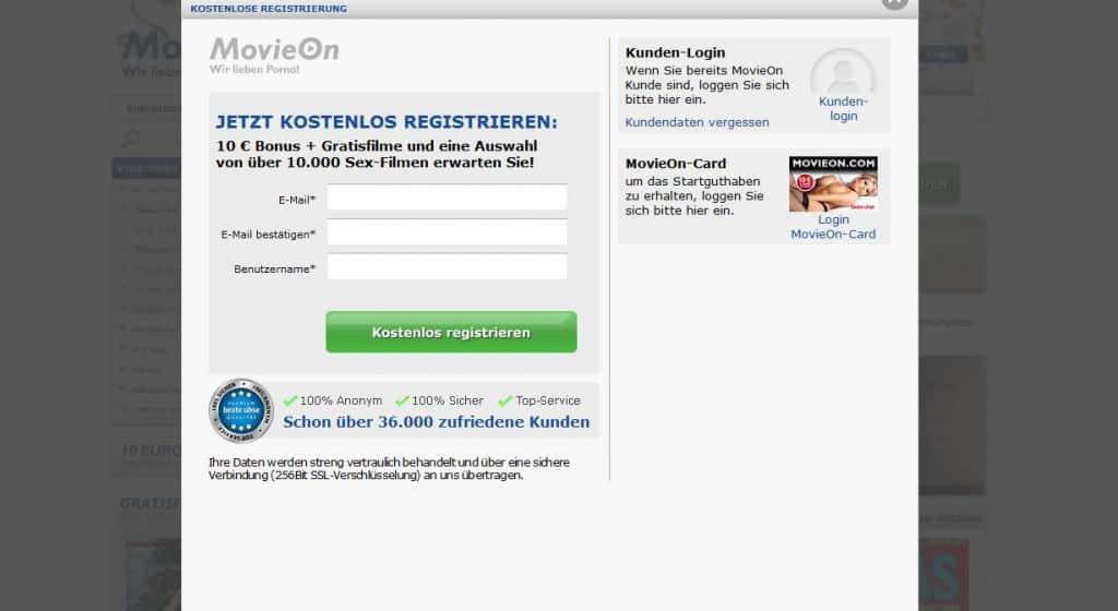 Movieon.com Kostenlose Registrierung
