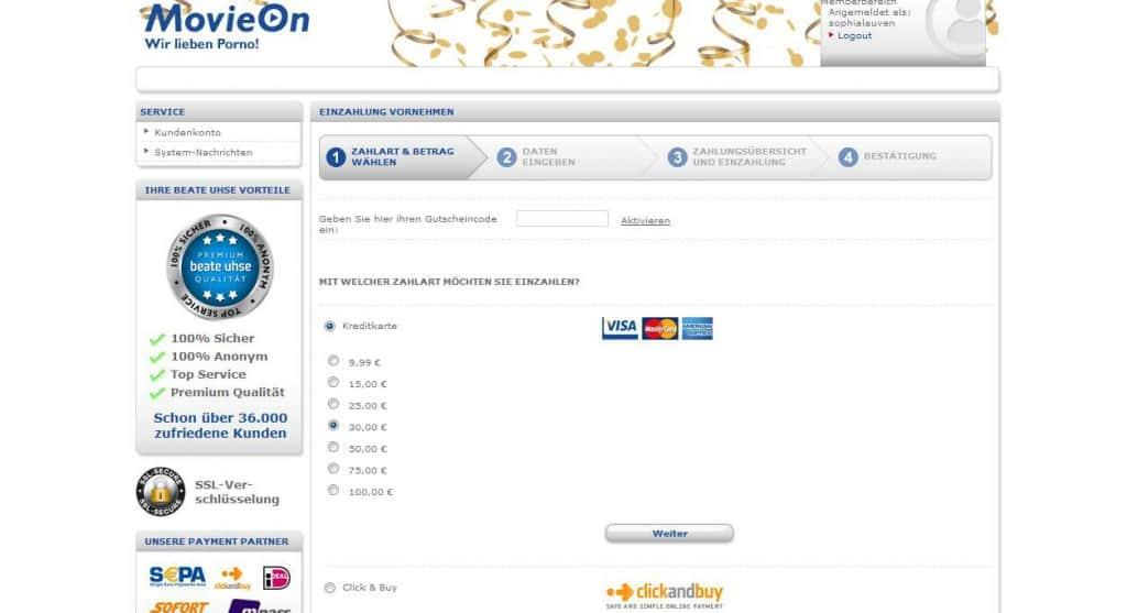 Movieon.com Registrierung und Zahlung