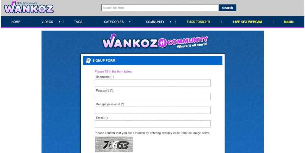 wankoz.com Community SignUp