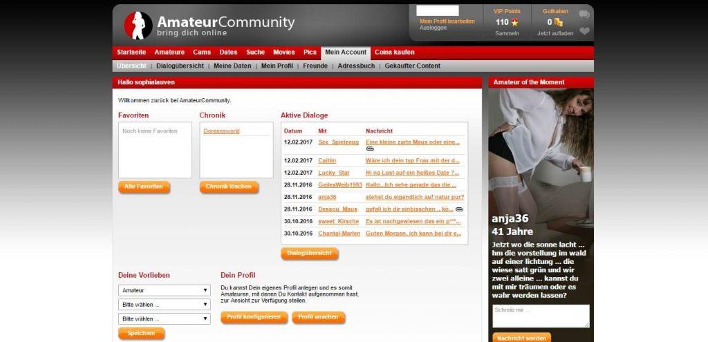amateurpages-de Startseite nach dem Login