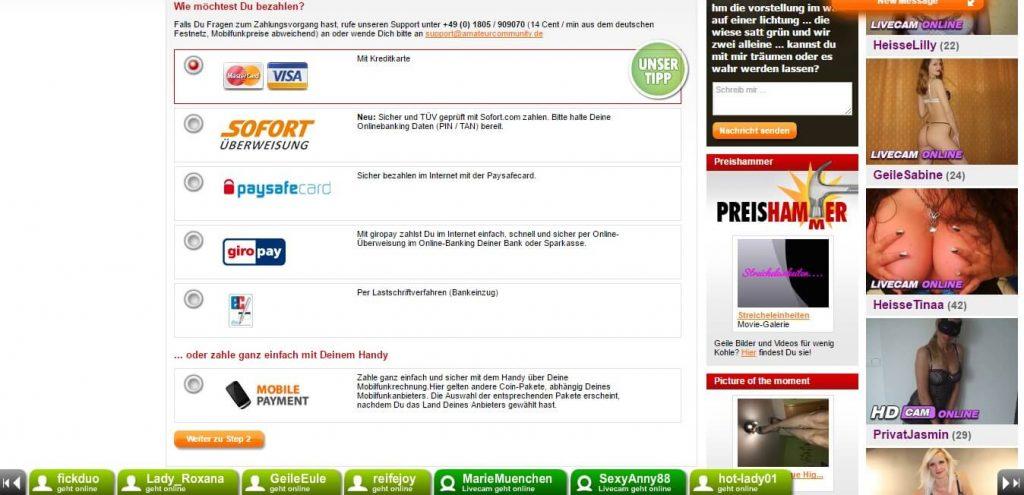 amateurpages-de Zahlungsmethoden